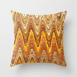 liv - retro wave abstract design orange tan rust copper Throw Pillow