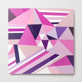 Hot pink purple abstract triangles stripes pattern Metal Print