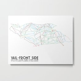 Vail, CO - Front Side - Minimalist Trail Map Metal Print