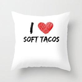 I Love Soft Tacos Throw Pillow