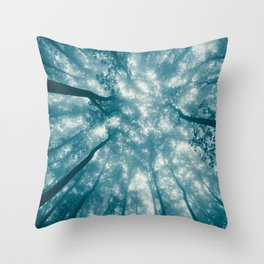 Smoky Mountain Summer Forest Teal - National Park Nature Photography Throw Pillow