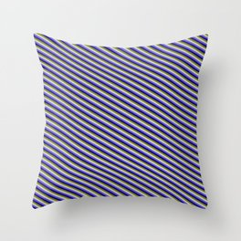 Slate Blue, Dark Blue, Green, and Light Grey Colored Stripes/Lines Pattern Throw Pillow