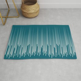 Off White Simple Minimal Frequency Line Art on Tropical Dark Teal Inspired by Sherwin Williams 2020 Trending Color Oceanside SW6496 Rug