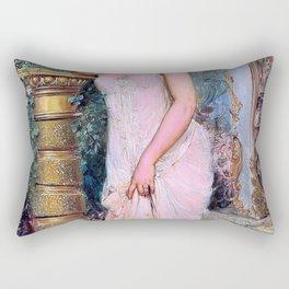 In The Atelier, The Shy Model - Hans Zatzka Rectangular Pillow