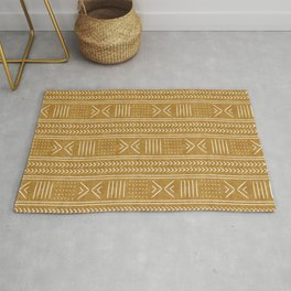 mustard mud cloth - arrow cross Rug