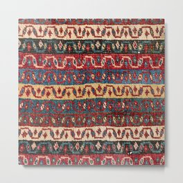 Tribal Bands Zig Zag 19th Century Authentic Colorful Yellow Blue Red Lines Vintage Patterns Metal Print