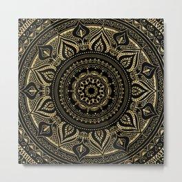Traditional mandala in gold//vintage flourish-botanical elements Metal Print