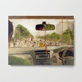 Driving in Car on Road Blocked by Flock of Sheep Urban Cityscape in India Travel Metal Print