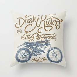 Dusty Riders Vintage Motorcycles Throw Pillow