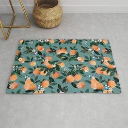 Dear Clementine - oranges teal by Crystal Walen Rug