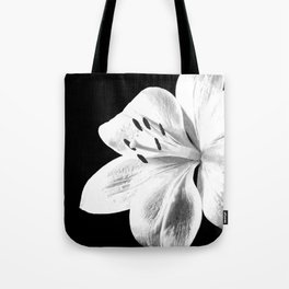 White Lily Black Background Tote Bag