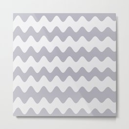 Pantone Lilac Gray Soft Zigzag Rippled Horizontal Line Pattern Metal Print