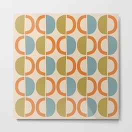 Mid Century Modern Half Circle Pattern 550 Beige Orange Blue and Olive Metal Print