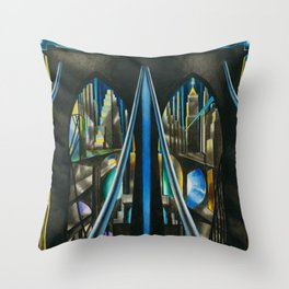 Brooklyn Bridge, New York City Skyline Art Deco landscape painting by Joseph Stella Throw Pillow