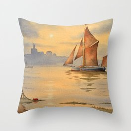 Thames Barge At Sunset Maldon Essex Throw Pillow
