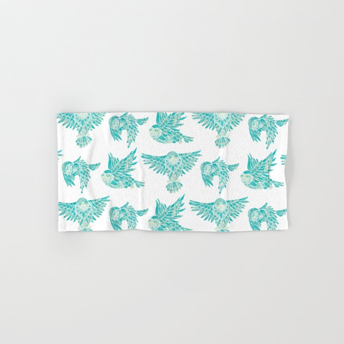 Owls in Flight – Turquoise Palette Hand & Bath Towel