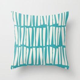 Alabaster White Vertical Dash Stripe Line Pattern on Aqua Teal Turquoise Parable to Aquarium SW 6767 Throw Pillow