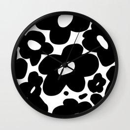60s 70s Hippie Flowers Black Wall Clock
