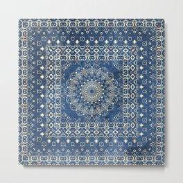 Old Bookshop Magic Mandala in Blue Metal Print