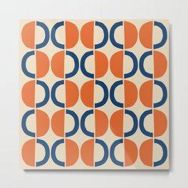 Mid Century Modern Half Circle Pattern 534 Beige Blue and Orange Metal Print