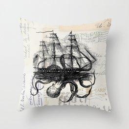 Octopus Kraken Attacking Ship on Old Postcards Throw Pillow