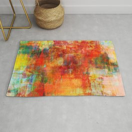 AUTUMN HARVEST - Fall Colorful Abstract Textural Painting Warm Red Orange Yellow Green Thanksgiving Rug
