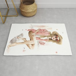 Summer fashion woman in straw hat watercolor painting Rug