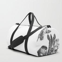 Black and White Jungle Animal Friends Duffle Bag