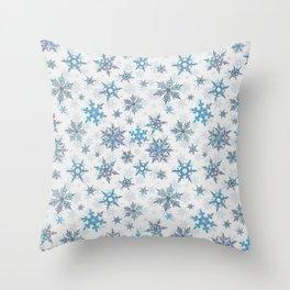 """""""Embroidered"""" Snowflakes on white canvas Throw Pillow"""