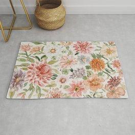 Loose Pastel Dahlia Watercolor Bouquet Rug