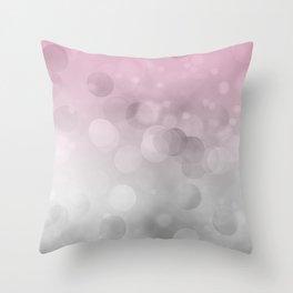 Pink  Grey Soft Gradient Bokeh Lights Throw Pillow