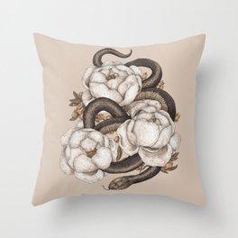 Snake and Peonies Throw Pillow