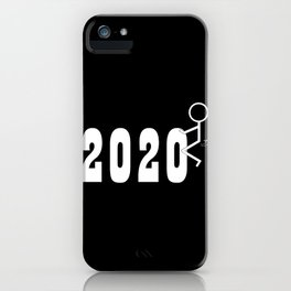 Fuck 2020 Humping Stickman Black and White iPhone Case