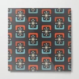 Mid Century Modern Starburst Shells Blue and Orange Metal Print
