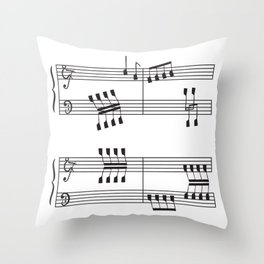 Rowing & Music 3 - Rowing with notes on the Music sheets Throw Pillow