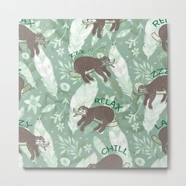 Lazy Boho Sloth On green Background Metal Print