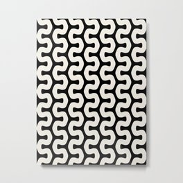 Black & White Geometric Pattern Tribal African Wiggly Lines Cultural Style Funky Cool Metal Print