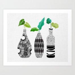 Tribal Vase Trio Series - Landscape Orientation Art Print
