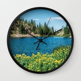 Yellow Flower Lake // Beautiful Daylight Evergreen Mountain Landscape Photograph Wall Clock