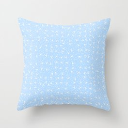 Preppy Blue Dots and Triangles Pattern Throw Pillow