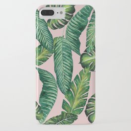 Jungle Leaves, Banana, Monstera II Pink #society6 iPhone Case