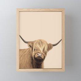 Cream Highland Cow Framed Mini Art Print