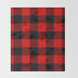 Red Lumberjack Pattern Throw Blanket