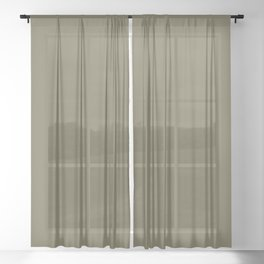 Solid Color Pantone Martini Olive 18-0625 Green Sheer Curtain