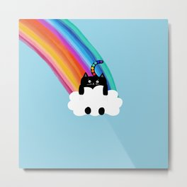 Cat Rainbow Metal Print