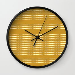 Spotted, Mudcloth, Mustard Yellow, Wall Art Boho Wall Clock