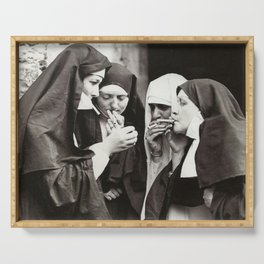 Nuns Smoking Serving Tray