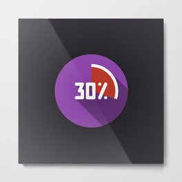 """Print illustration """"percentage - 30%"""" with long shadow in new modern flat design Metal Print"""