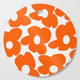 Orange Retro Flowers White Background #decor #society6 #buyart Cutting Board