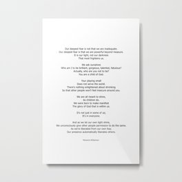 Our Deepest Fear Poem 2 #minimalist #quotes Metal Print